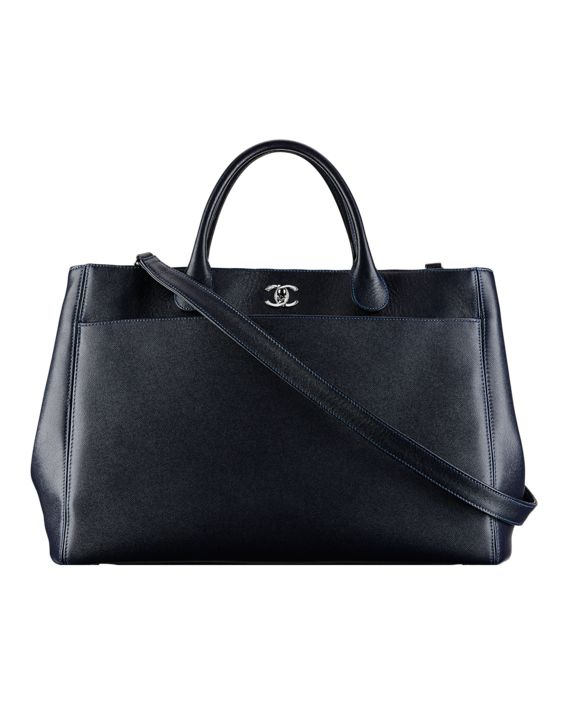 Shopping bag, grained calfskin-black - CHANEL