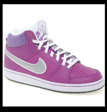 Shop online for Nike Backboard girls leather mid-top trainers. With blue  swoosh and lace fastening.