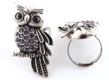 2 Pieces of Ladies Silver with Purple Iced Out Owl Adjustable Finger Ring