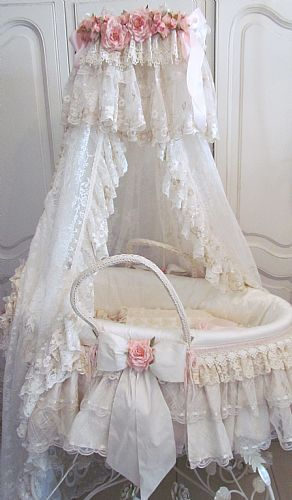 Shabby Chic Baby Bassinet. Lace and Ruffles for the baby.. Precious! www.MountainChickDesigns.com