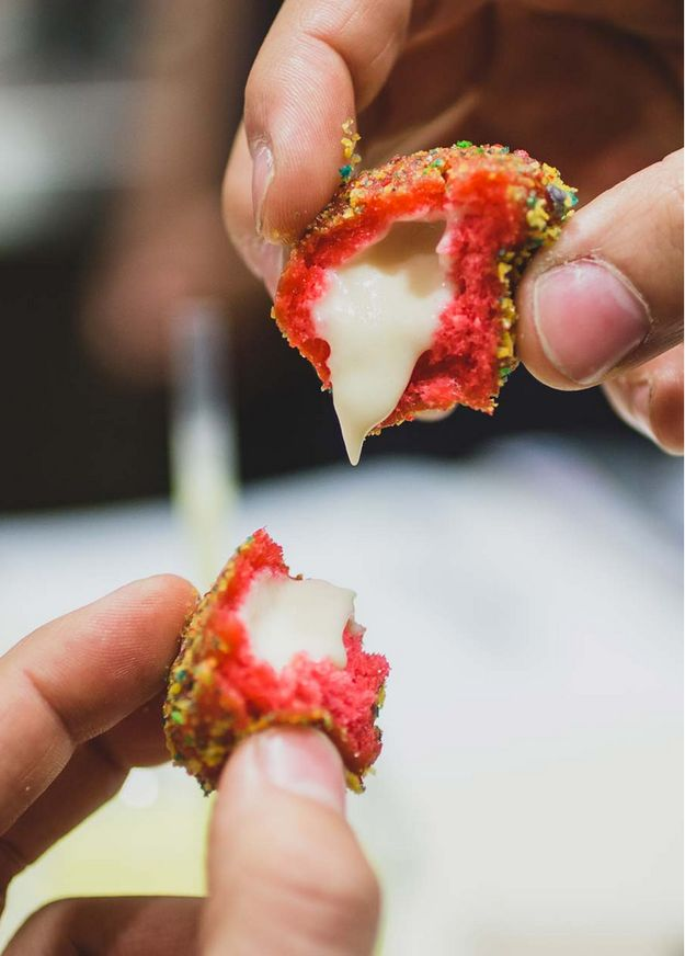Taco Bell - Cap'n Crunch Donut Holes. - The deep-fried bites are filled with creamy milk icing: And coated with Cap'n Crunch cereal