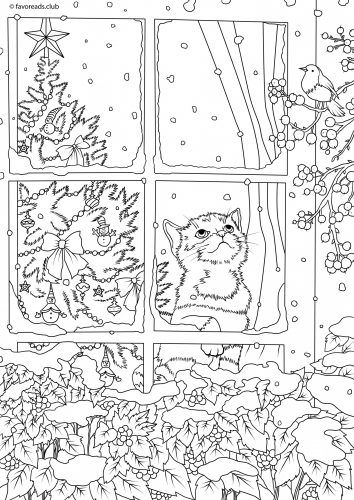 cozy window scene free coloring page for cat lovers - Christmas Coloring Pages For Adults