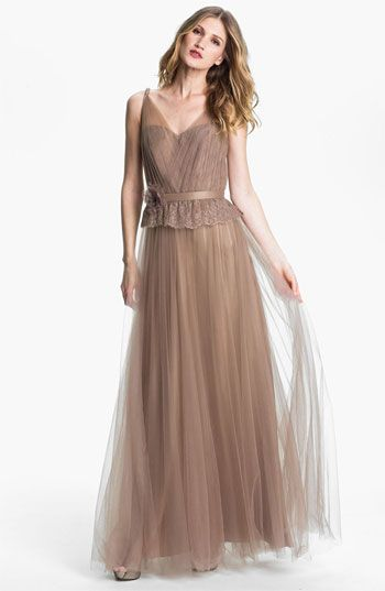 Kathy Hilton Lace Peplum Tulle Overlay Gown