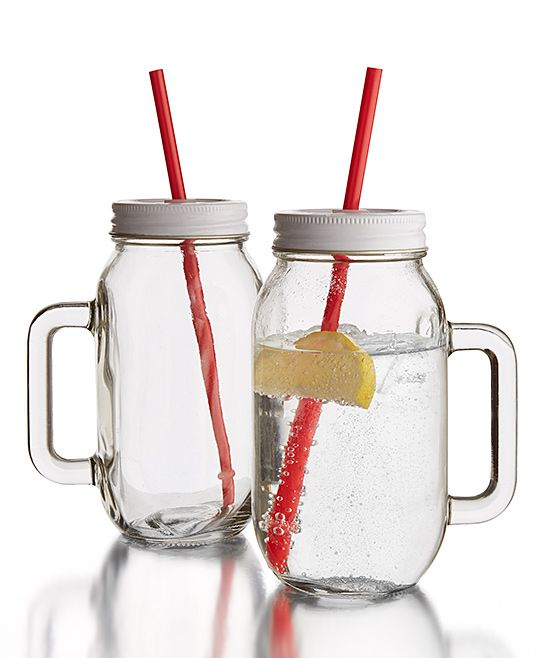 say hello to endless summer days with these charming handled mason glass drinking jars complete with candy cane straws - Mason Jar Glasses