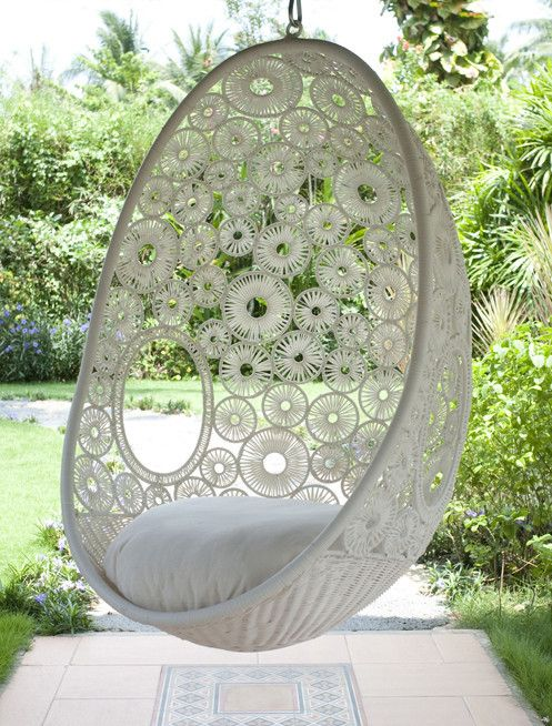 Hang this stunning chair from your porch or balcony, or as a feature in your living room. It looks incredible, but, most importantly, it is super comfy.    Available in white only  Includes hanging chain and seat cushion  85cm x 60cm x 125cm