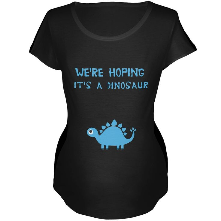 We're Hoping It's a Dinosaur Boy Black Maternity Soft T-Shirt