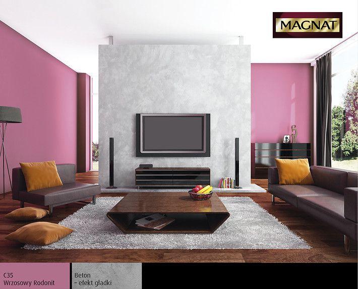 Beton - efekt gładki idealna struktura na ścianę z telewizorem.