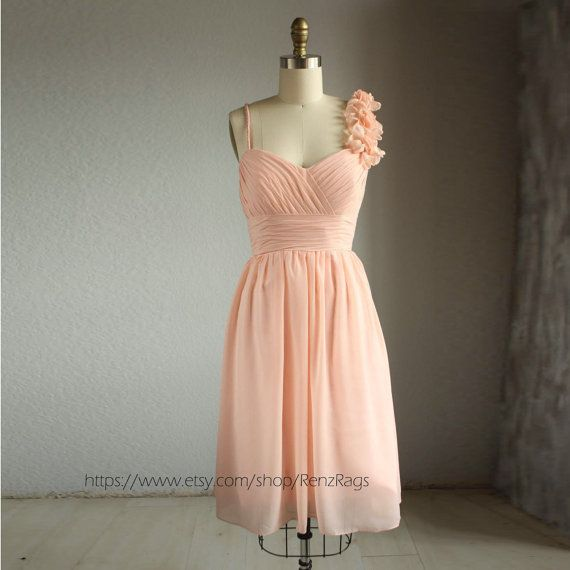 Possible option for Flower gals... Wedding dress  PEACH chiffon party dress bridesmaid by RenzRags, $98.00