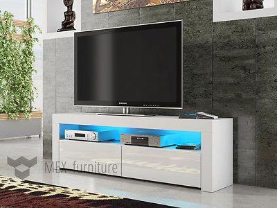 Modern TV Unit  Cabinet Stand White Matt and White High Gloss FREE LED RGB!