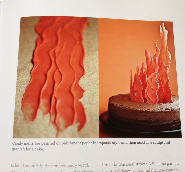 """Impasto"" used on a cake (see photo below) to make flames is nothing more than candy melts painted (thinly) on parchment paper."