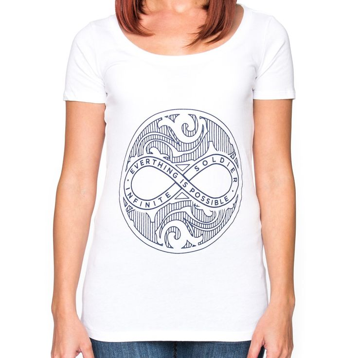 Our ladies Infinite Circle ofPeace design white scoop neck graphic t shirtfeaturesa stylish navy blue line art. Show off this positive and inspiring tank top