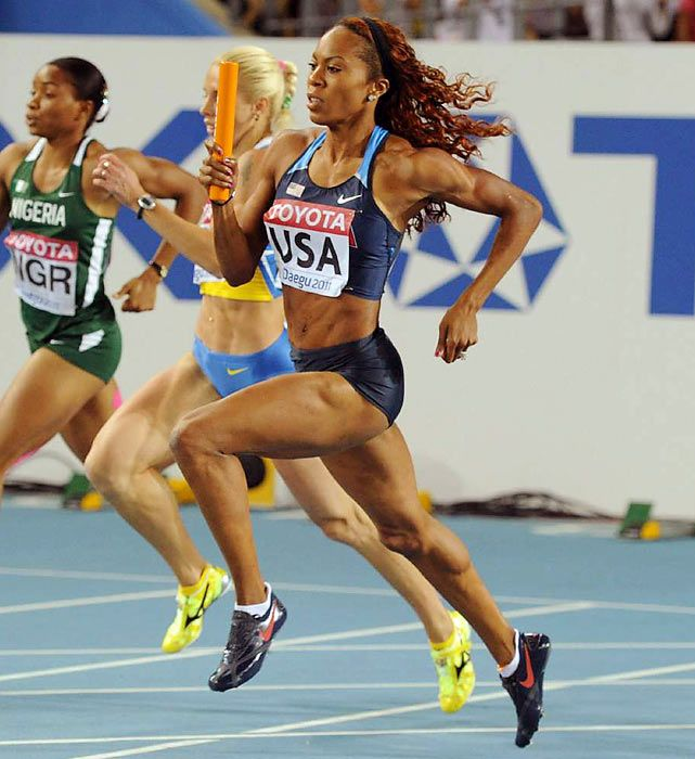US Track & Field Athletes To Watch for 2012 Olympics: Sanya Richards-Ross a member of the women's gold-medal 4x400-meter women's relay squad in Beijing along with Allyson Felix, the 27-year-old is also the defending bronze medalist in the 400. Jamaican-born, Richards-Ross is the American record-holder in the 400 at 48.70 seconds and has already run 2012's fastest time, clocking 49.39 at a June race in Eugene, Ore.