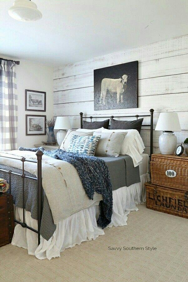 Gray White Blue Black Color Combination Farmhouse Bedroom Home