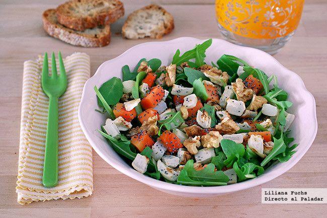 Receta de ensalada de nabo asado con papaya y rúcula. Con fotos del paso a paso, consejos y sugerencias de degustación. Recetas ligeras. Recetas ...