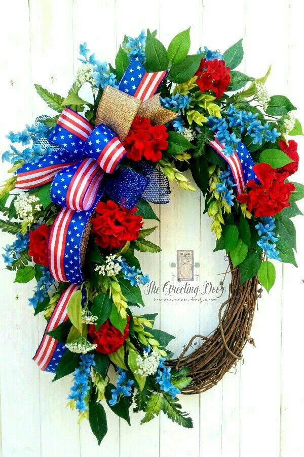 patriotic wreaths for front door213 best Patriotic Wreaths images on Pinterest  Patriotic wreath