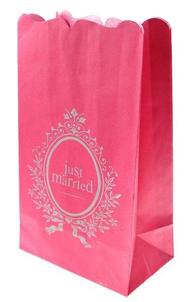 6 photophores Just Married fuchsia & bougies leds   mariage-promo.fr   vente accessoires et décoration mariage pas cher