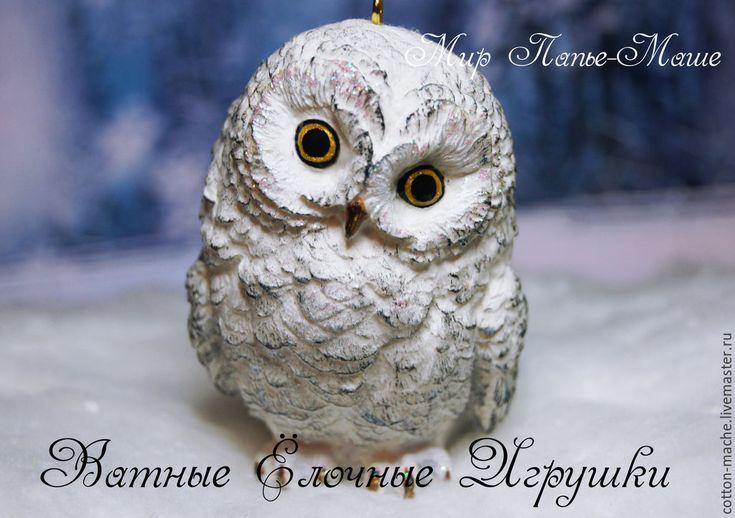 Купить Ватная ёлочная игрушка Полярная Сова, фигурка (ВИ-1403) - белый, полярная сова