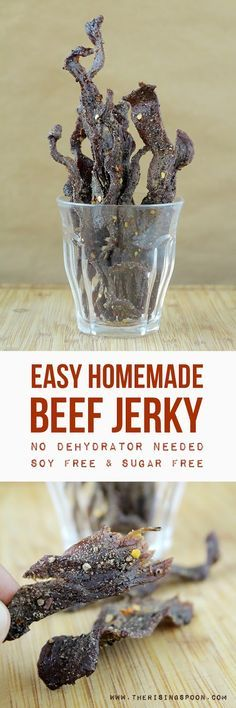 Learn how to make the best oven-dried beef jerky that beats the socks off the stuff you'll find in stores! I also share my homemade recipe for spicy black pepper beef jerky with no sugar or soy!