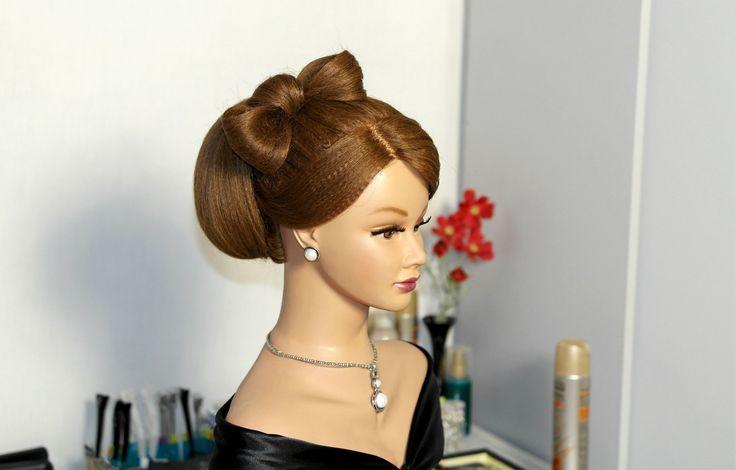 Hairstyles for long hair. Bun with hair bow. Прическа для длинных волос. Бабетта с бантом из волос.