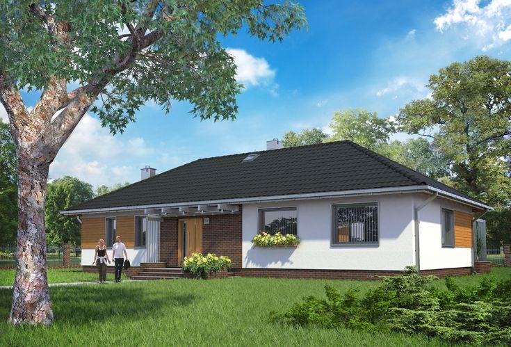 Projekt domu Rumianek to dom parterowy na planie litery L, z nowoczesnymi detalami i przestronnym wnętrzem