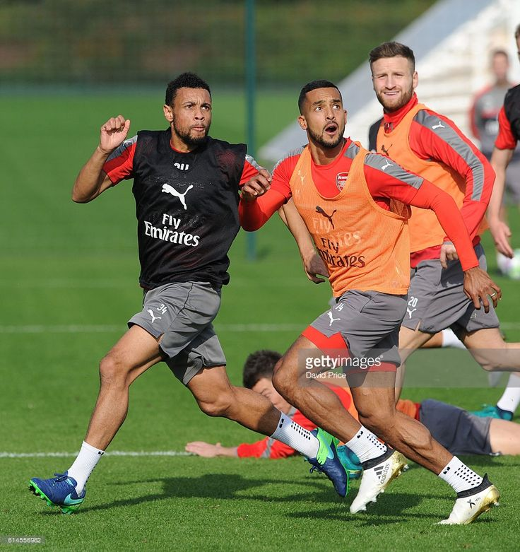 Francis Coquelin and Theo Walcott of Arsenal during Arsenal Training Session at London Colney on October 14, 2016 in St Albans, England.