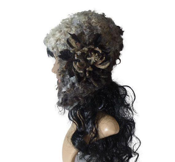 A ear flap style hatUnique woman hatFelt fur hat Pure by VEGAfelt