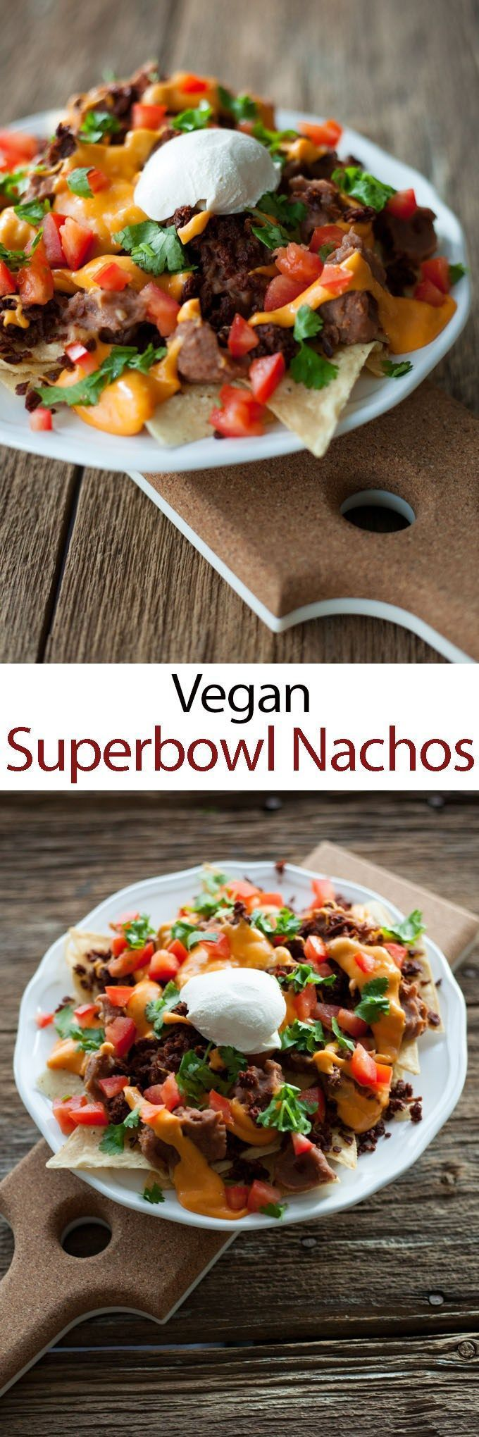 Easy vegan nacho recipe for Monday night foot ball or your Super Bowl party! Easy, cheesy and yummy! VEGAN