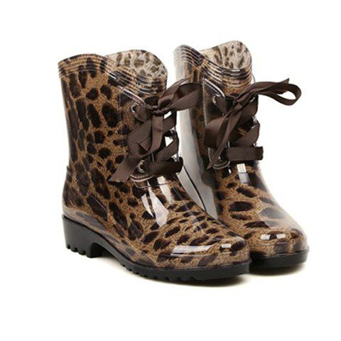 Fashion Lace-Up and Round Toe Design Women's Rain Boots Boots | RoseGal.com Mobile