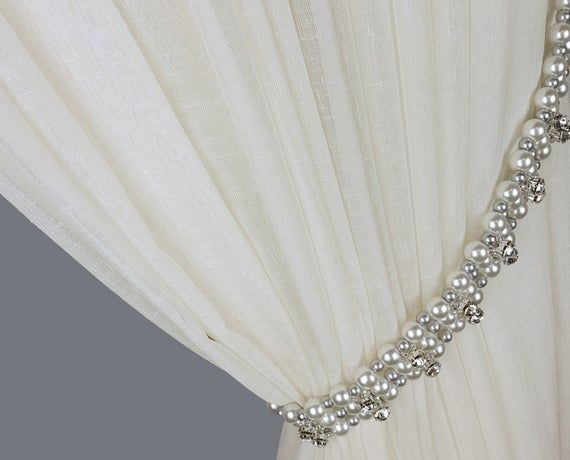 Curtain Tie Back Pearl White Rhinestones Tiebacks Gray Pearl