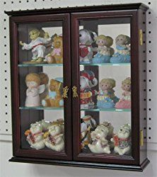 Small Wall Mounted Curio Cabinet / Wall Display Case with glass door (Mahogany Finish)