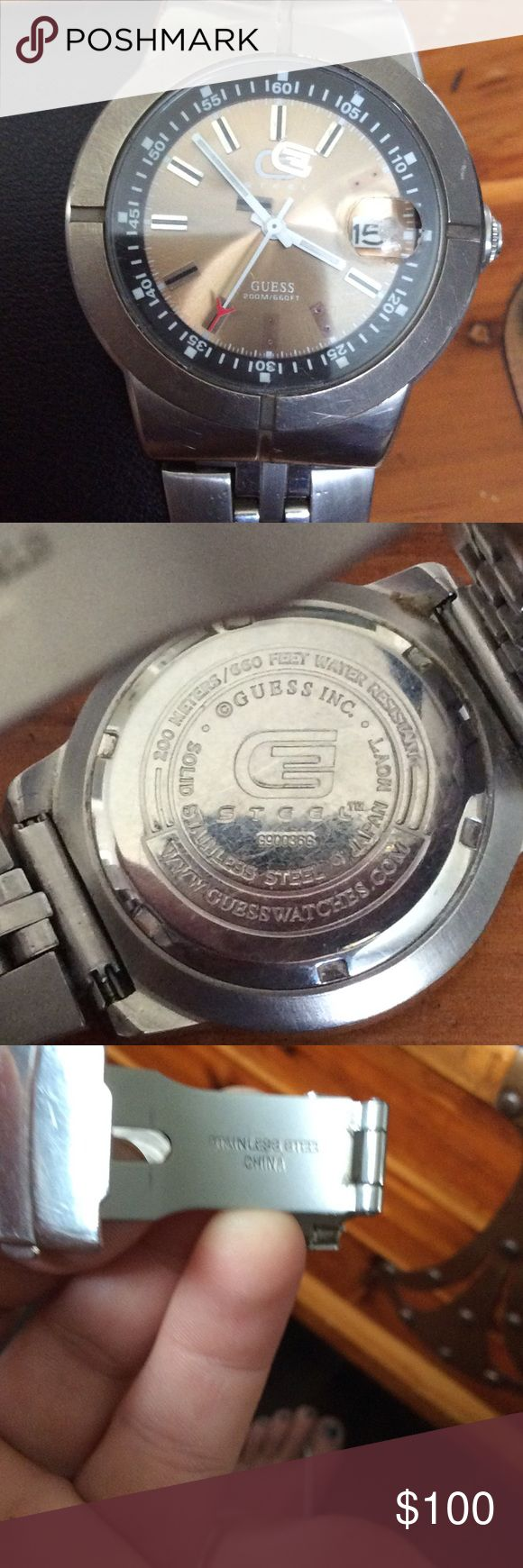 GUESS Watch for men This is a GREAT Guess watch Japan Mout. Solid stainless steel. Zoom 200m, 660 ft water resistant and Suitable for all high impact water sports and scuba diving at depths not requiring helium or compression. Needs battery. A GREAT BUY. Guess Accessories Watches