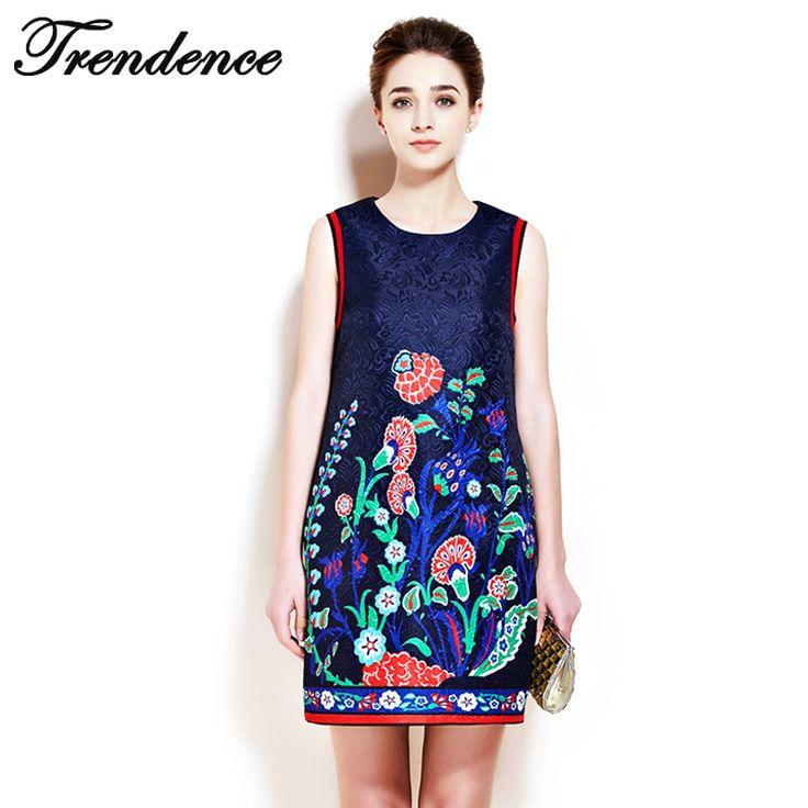 Ucuz Trendence2016 Zarif Kadın Elbise Vestidos Nakış Ipek Mavi Kolsuz Yaz Elbise Çiçek Desen Femininas Rahat 166007, Satın Kalite elbiseler doğrudan Çin Tedarikçilerden:    trendence2016 zarif kadın elbise vestidos nakış ipek mavi kolsuz yazlık elbise çiçek deseni feminin
