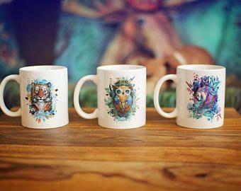 4 estilo impresas tazas de pato mandarín-tigre unicornio caballo búho taza panorámica taza té café jugo caja fuerte del lavaplatos