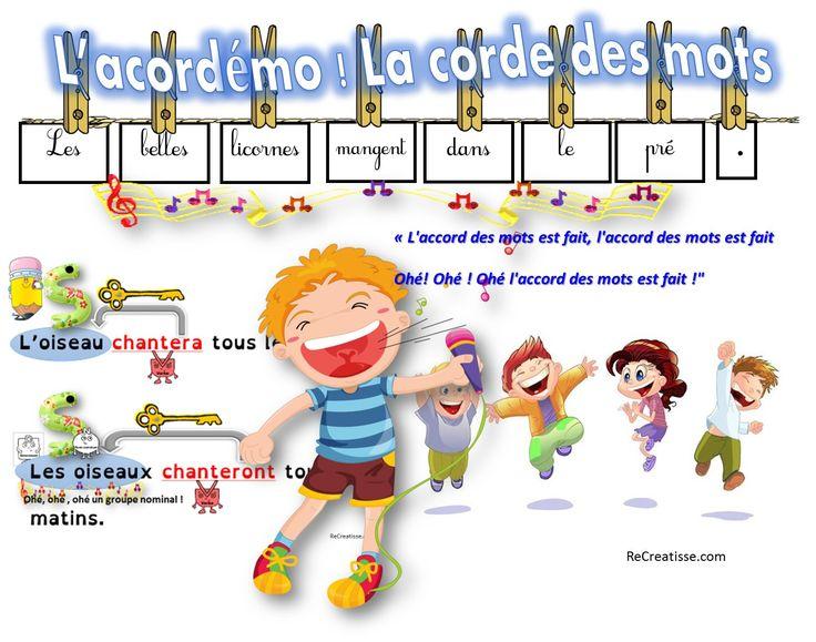 La grammaire en chantant et en jouant ! L'ACORDEMO : Objectif : Systématiser la réflexion sur les accords dans le GN et l'accord sujet/verbe. Vous trouverez dans le fichier 10 phrases à transformer au pluriel et 10 fiches pour la correction mettant en évidence la relation entre les mots. – Pour l'accord dans le GN …