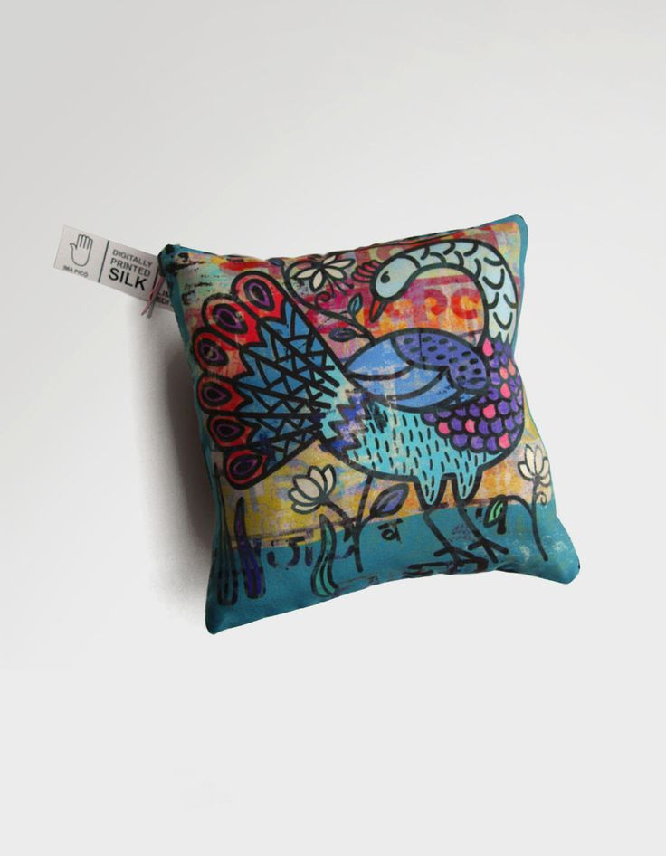 New to ImaPico on Etsy: Bird print small cushion teal and blue peacock art silk animal lover gift handmade boho home decor decorative pillows new home gift (16.00 GBP)