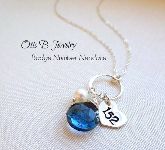 Police wife necklace, blue quartz, eternity necklace with custom badge number, thin blue line, police wives, police mom, law enforcement
