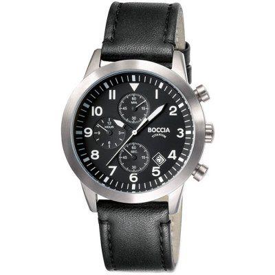 Boccia Mens Black Leather Chronograph Titanium Watch - B3772-01 - RRP £135.00 - Online Price £114.76