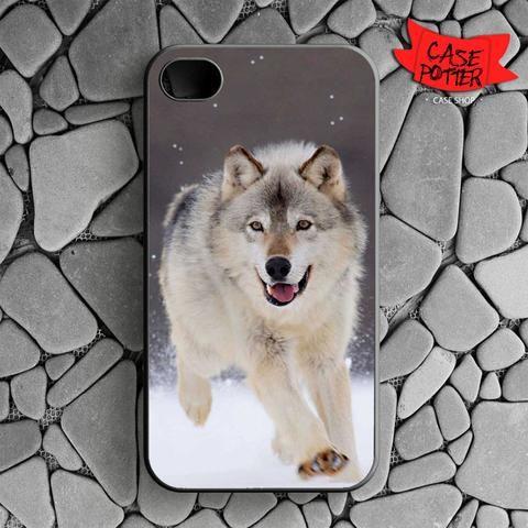 Wolf Run On White Snow iPhone 4 iPhone 4S Black Case