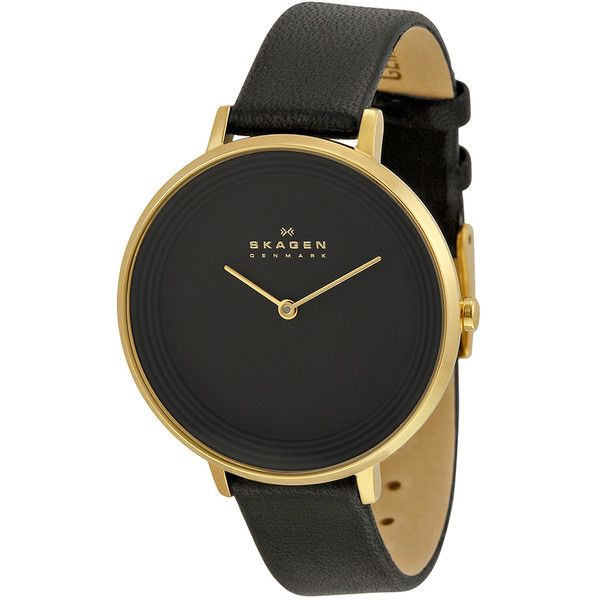 Skagen Women's SKW2286 Ditte Analog Black Dial Black Leather Watch ($122) ❤ liked on Polyvore featuring jewelry, watches, black, leather watches, black face watches, skagen watches, leather-strap watches and skagen jewelry