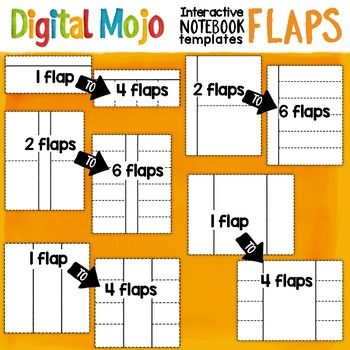 Interactive Notebook Templates Clipart - Flaps comprised of the basic rectangular flap templates seen in interactive notebooks.  This is a good starter set and timesaver if youre just beginning to create interactive notebooks for your classroom or products and need interactive notebook templates.