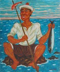 Pescatore con pesce by Giuseppe Migneco