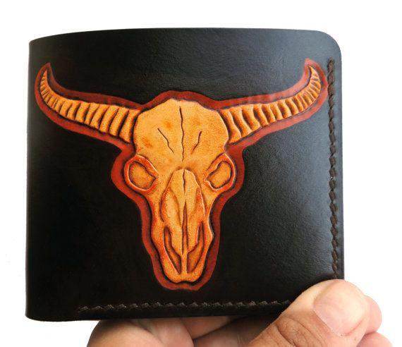 Carved leather wallet, buffalo skull (bucranium), entirely handmade men's wallet