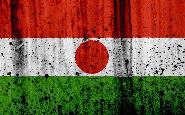 Download wallpapers Niger flag, 4k, grunge, flag of Niger, Africa, Niger, national symbols, Niger national flag