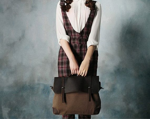 Unisex Superior Genuine Cow Leather Canvas Bag / by leeloongstudio, $59.00