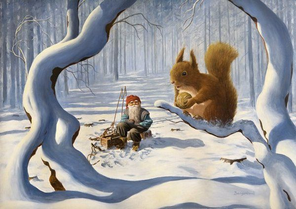 giant (ok not really) squirrel chats with tomte man in a snowy forest (Jan Bergerlind)