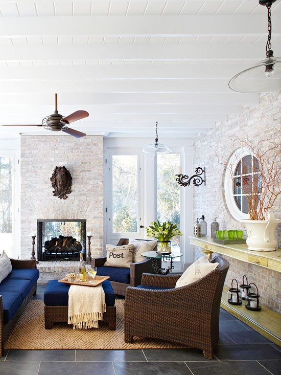 Year-Round Use: Decor, Ideas, Living Rooms, Screens Porches, Outdoor Living, Outdoor Rooms, Brick, Fireplaces, Sunroom