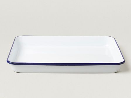 Falcon Enamelware 28cm Serving Tray in Classic White with Blue rim.