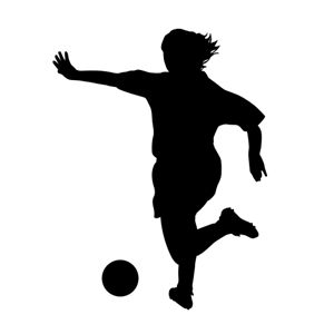 Looking for QUICK and EASY Soccer Decor? Life-size SOCCER PLAYER SILHOUETTES are perfect for decorating gym walls, schools, weight rooms, sports stores, homes...soccer decorations...Full-size female soccer player vinyl wall decals...woman soccer player, Female Soccer Player Silhouette Vinyl Decals...