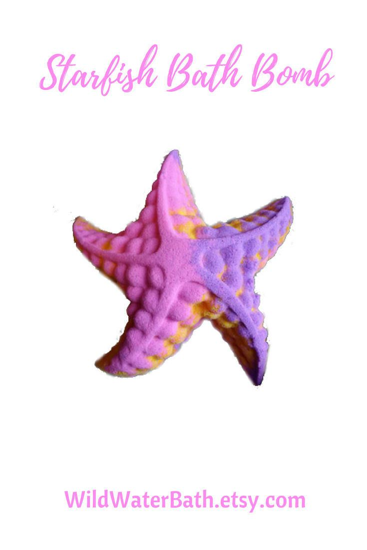 Starfish Bath Bomb, Cocoa Butter Bath Bomb, Relaxing Home Spa Gift, Stocking Stuffer, Mermaid Gifts, Spa Gift for Her, Custom Home Spa Gift by WildWaterBath on Etsy