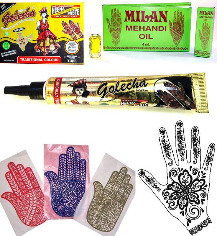 Henna-Set Mehandi Schablonen + schwarze Hennapaste Tube á 25g + Mehandi Öl 4 ml